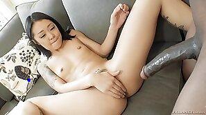 badass asian chick enjoying interracial anal @ dark meat #10